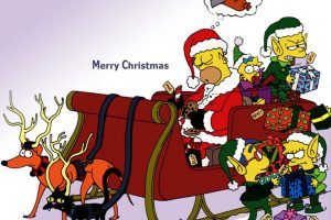 The Simpsons Merry Christmas Postcard