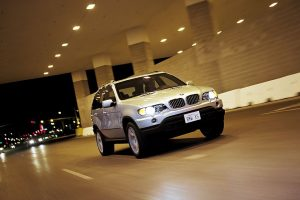 White BMW X5 Night Drive In City