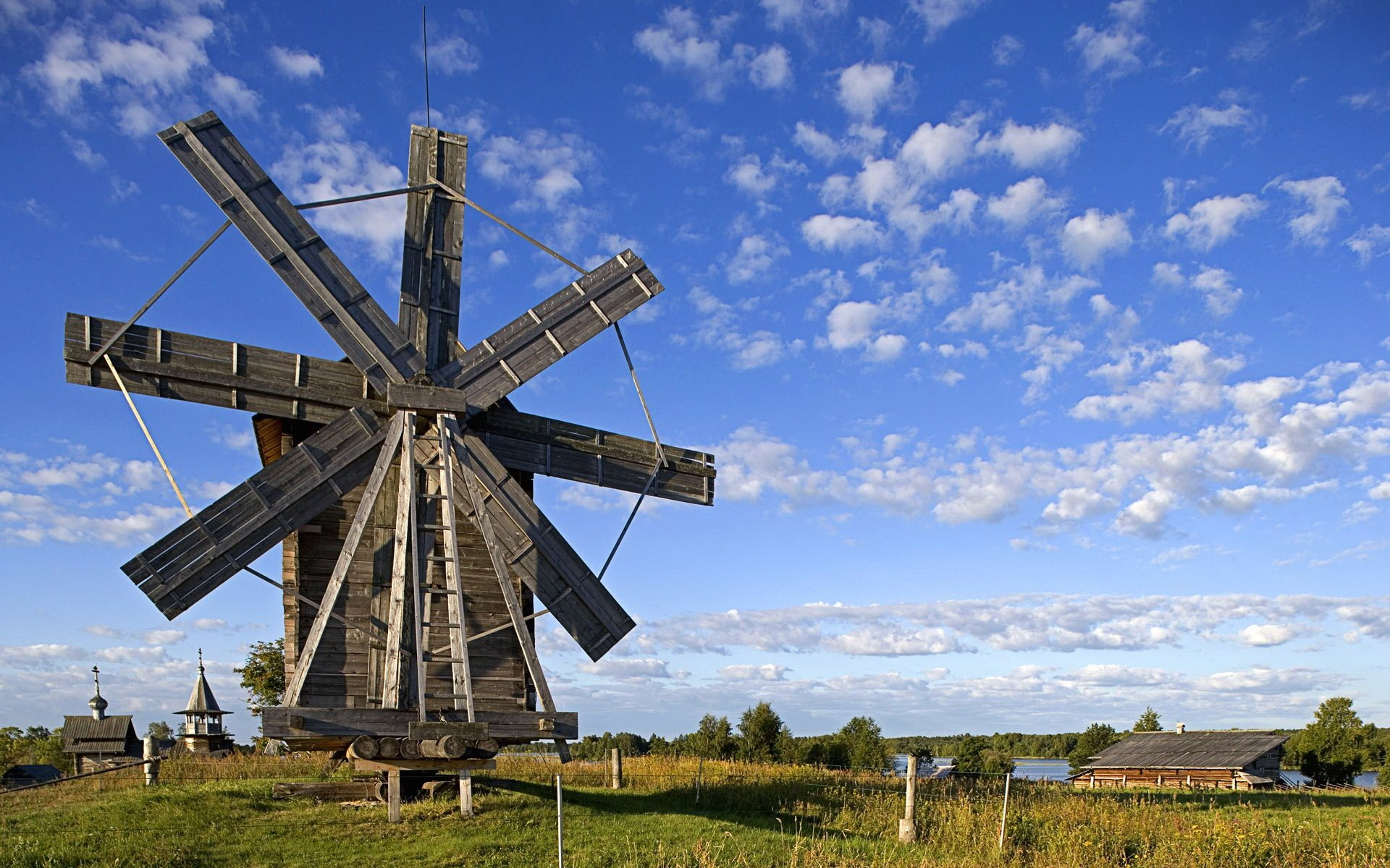 Windmill And Beautiful Day Wide