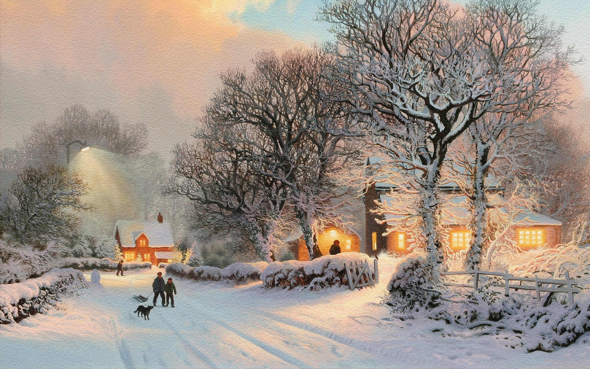 Winter Evening In The Village Wide