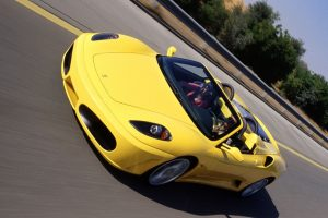Yellow Ferrari F430 Spider On Road