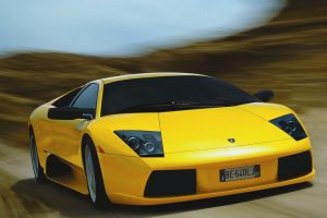 Yellow Murcielago In Motion